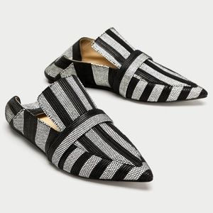 Zara Woven Striped Pointed Toe Loafers 40/9
